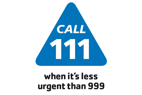 NHS 111 Logo. Dial 111 when its less urgent than 999.
