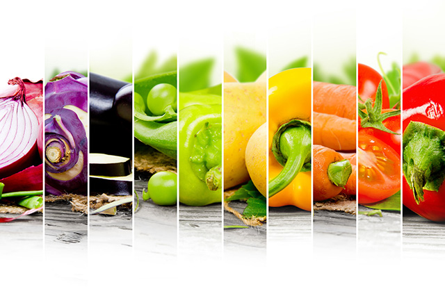 Photpo montage showing  ten vertical images of different vegetables